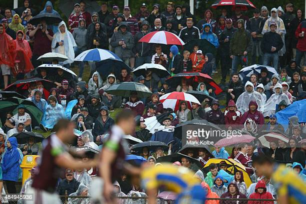 The crowd watch on during the round 24 NRL match between the Manly Warringah Sea Eagles and the Parramatta Eels at Brookvale Oval on August 23 2015...