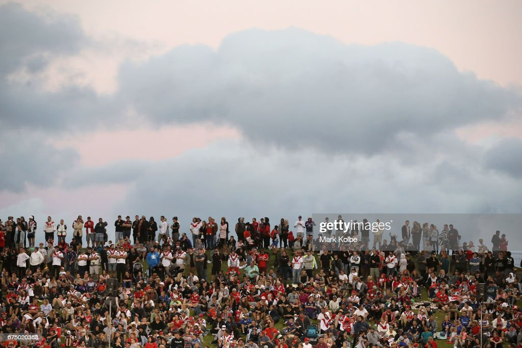 The crowd watch on during the round nine NRL match between the St George Illawarra Dragons and the Melbourne Storm at WIN Stadium on April 30, 2017 in Wollongong, Australia.