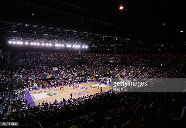The crowd watch the action during game five of the NBL Grand Final series between the Sydney Kings and the Melbourne Tigers at the Sydney...
