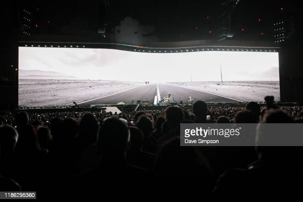 The crowd watch U2 perform at Mt Smart Stadium on November 08 2019 in Auckland New Zealand