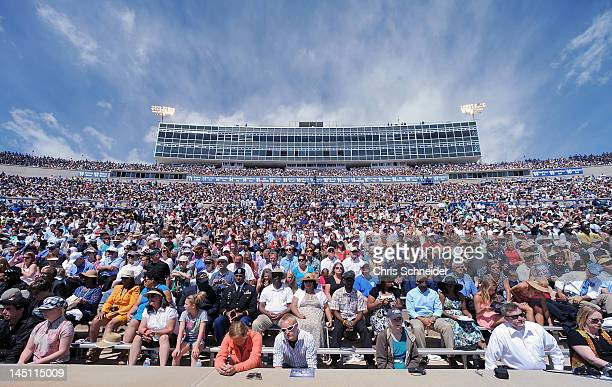 The crowd watches as President Barack Obama delivers the commencement address at the graduation ceremony for the US Air Force Academy at Falcon...