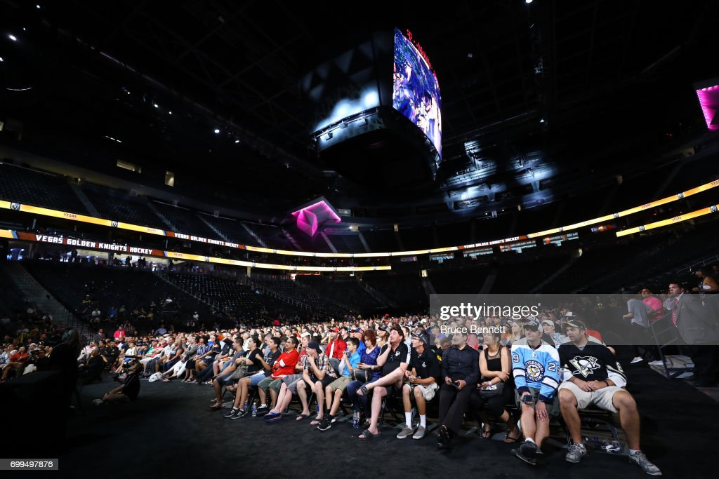 The crowd watches as the newest members of the Las Vegas Golden Knights are interviewed on stage during the 2017 NHL Expansion Draft Roundtable at T-Mobile Arena on June 21, 2017 in Las Vegas, Nevada.
