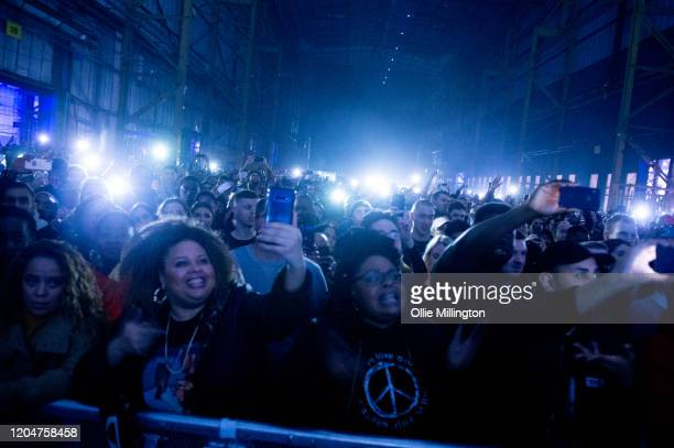 The crowd watches Kano perform at The Drumsheds on February 7, 2020 in London, England.