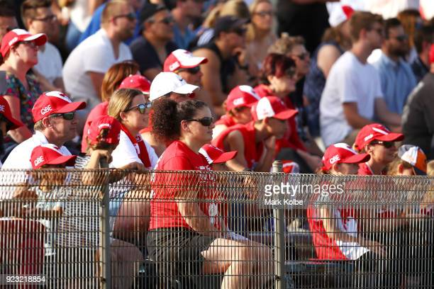 The crowd watches on during the AFL Inter Club match between the Sydney Swans and the Greater Western Sydney Giants at Henson Park on February 23...