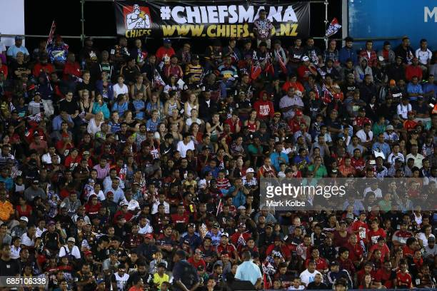 The crowd watches on during the round 13 Super Rugby match between the Chiefs and the Crusaders at ANZ Stadium on May 19 2017 in Suva Fiji