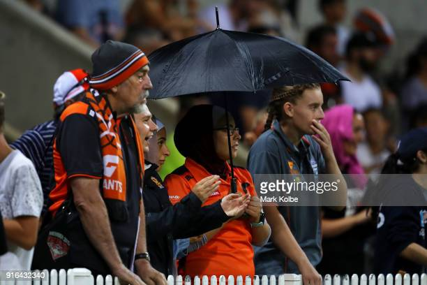 The crowd watches on during the round 20 AFLW match between the Greater Western Sydney Giants and the Carlton Blues at Drummoyne Oval on February 9...