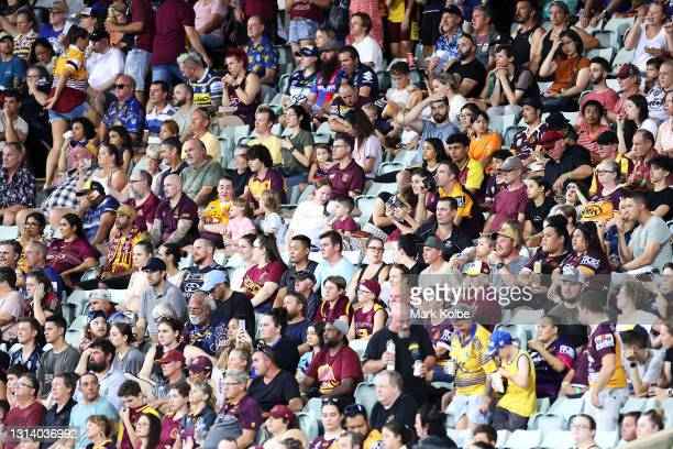 The crowd watches on during the round seven NRL match between the Parramatta Eels and the Brisbane Broncos at TIO Stadium, on April 23 in Darwin,...