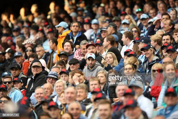 The crowd watches on during the round six Super Rugby match between the Waratahs and the Crusaders at Allianz Stadium on April 2 2017 in Sydney...