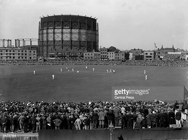 The crowd watching the test match between England and Australia at the Oval in South London.