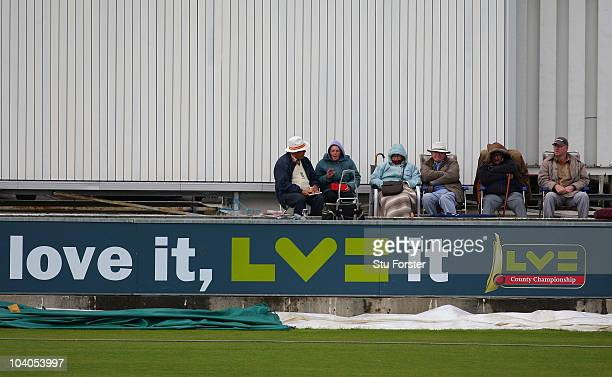 The crowd wrap up against the elements during Day One of the LV County Championship Division One match between Durham and Somerset at Emirates Durham...
