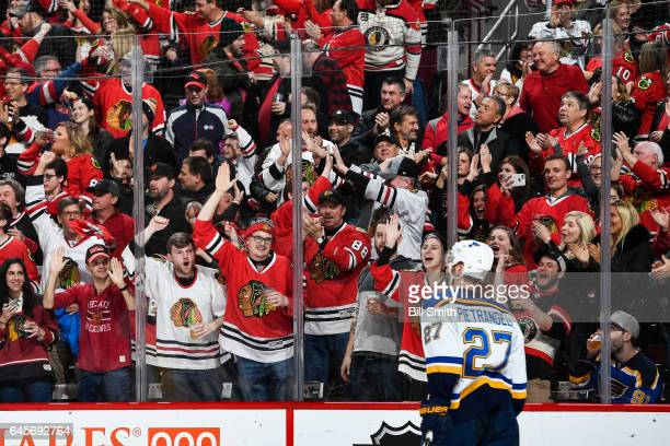 The crowd yells at Alex Pietrangelo of the St Louis Blues after the Chicago Blackhawks scored in the third period at the United Center on February 26...