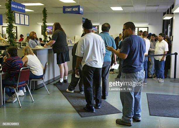 The crowded DMV office in Palmdale with lines of people waiting for services