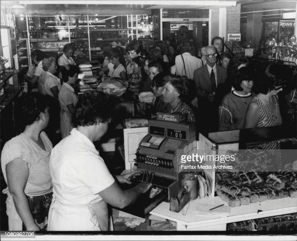 The crowded service area of the shop where buns are in high demand April 19 1984