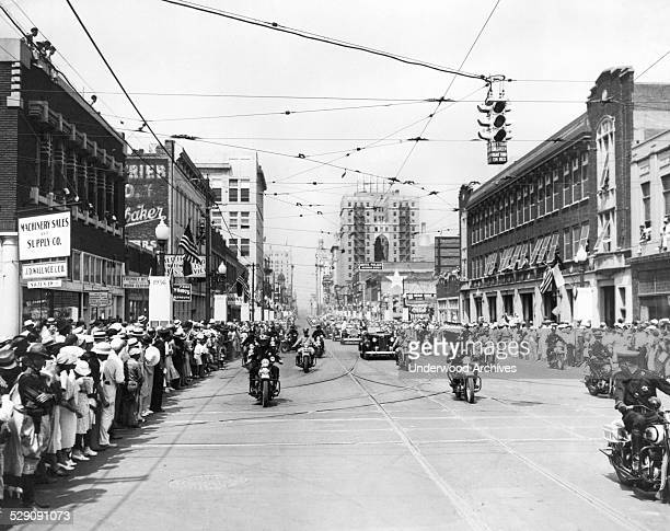 The crowds at the parade welcoming President Franklin Roosevelt as he arrived to speak at the Cotton Bowl Dallas Texas June 13 1936
