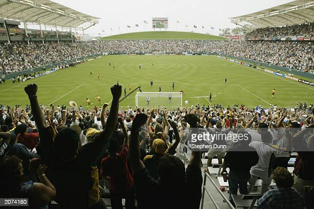 The crowds cheers after the Carlos Ruiz of the Los Angeles Galaxy scores against the Colorado Rapids during the inaugural match at the stateoftheart...