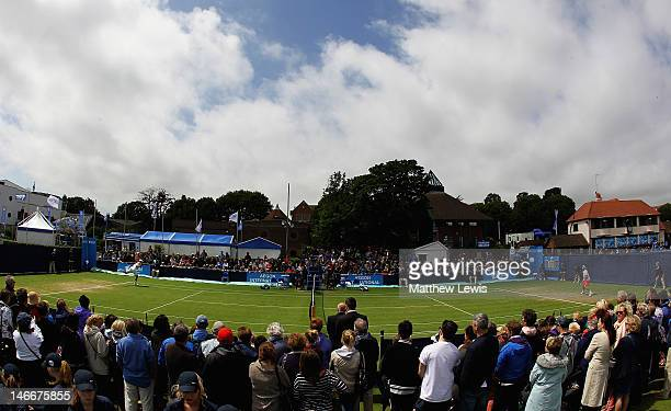 The crowds gather round court three to watch Andy Roddick of the United States of America in action against Fabio Fognini of Italy during day seven...