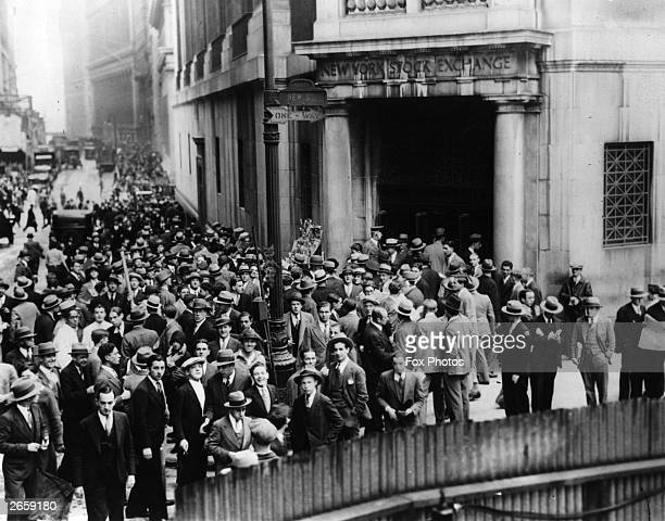 The crowds on Wall Street New York after the stock exchange crashed
