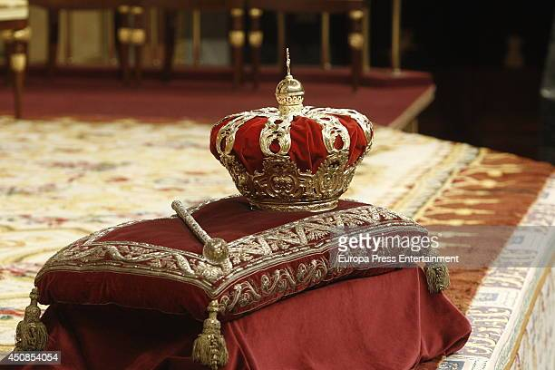The crown and scepter at Spanish Parliament on June 19 2014 in Madrid Spain