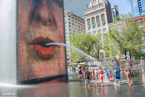 the crown fountain in millenium park, chicago, illinois - millenium park bildbanksfoton och bilder
