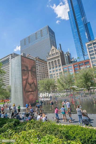 La couronne Fontaine du Millenium Park, à Chicago, dans l'Illinois