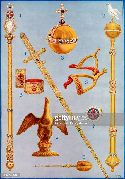 The Crown Jewels. 1. The King's Sceptre with the Cross. 2. The Sceptre with Dove. 3. The King's Orb. 4. The Jewelled Sword of State. 5. The Golden...