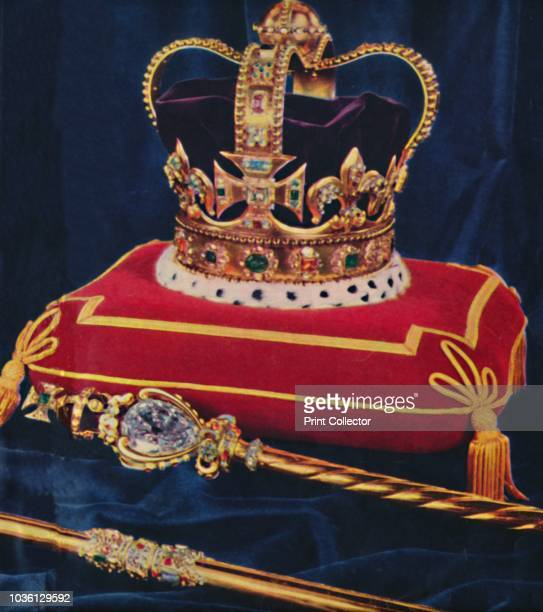 The Crown Jewels, 1953. St Edward's Crown, used to crown English and British monarchs at their coronations since the 13th century, and the...