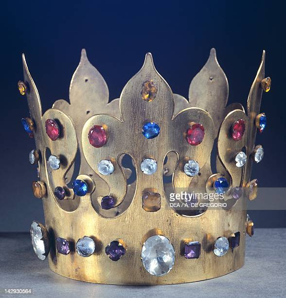 The crown of King Casimir the Great found in the tomb in the Wawel Cathedral in Krakow, Poland. Copy of the original. Jewellery. Polish Civilization,...