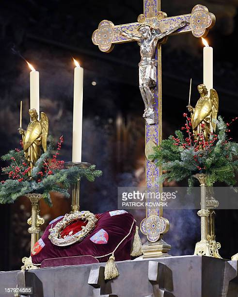 The crown of thorns one of the instruments of Jesus' Passion is set on a display case during its presentation to believers at NotreDame de Paris...