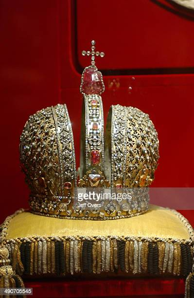 The crown of Tsar Mikhail Fyodorovich in the Armoury in the Kremlin Moscow