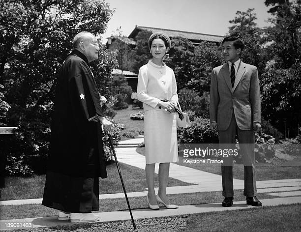 The Crown Prince Akihito of Japan and the Crown Princess Michiko visit the former Prime minister Shigeru Yoshida in his residence on June 13 1965 in...