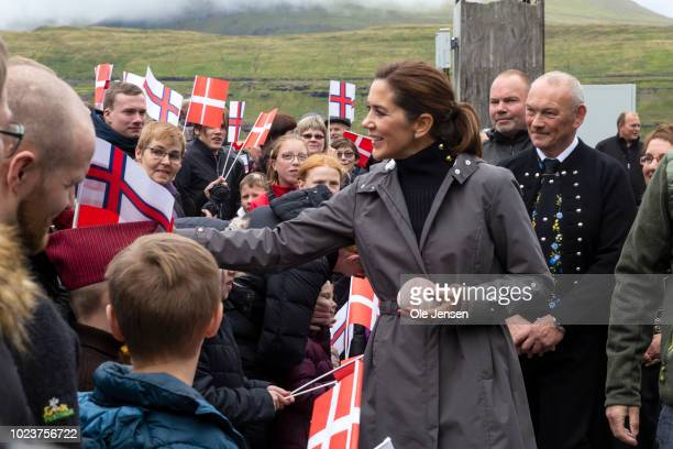 The Crown Prince couple during the fourth day of their visit to the Faroe Islands on August 25, 2018 in Haldorsvik, The Faroe Islands. The Faroe...