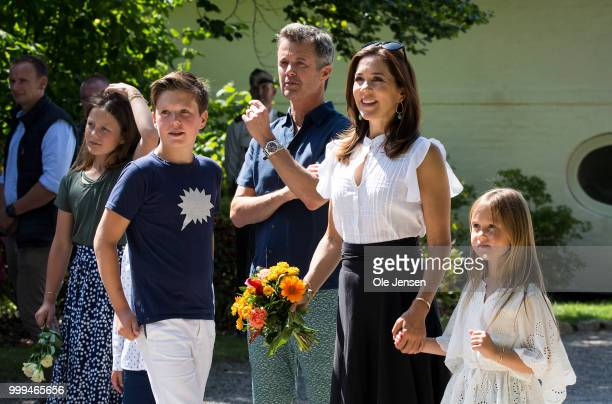 The Crown Prince family seen at the gate of Graasten Castle where they greets the Tilting-At-The-Ring Riders Event at Graasten Castle at Graasten on...