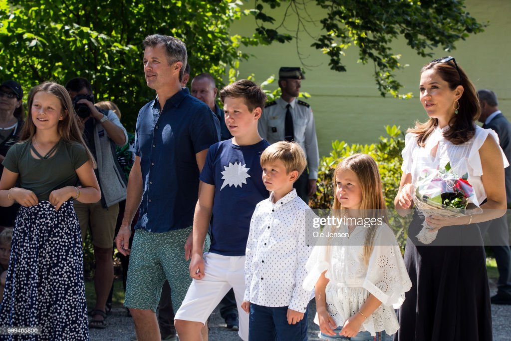 Danish Crown Prince Family Greats Tilting -At-The-Ring Riders At Graasten Castle : News Photo