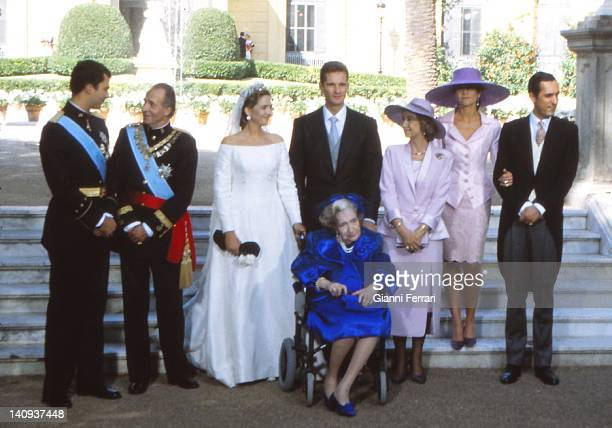 The Crown Prince Felipe the Spanish King Juan Carlos his daughter the Infanta Cristina Inaqui Urdangarin the Spanish Queen Sofia the Infanta Elena...
