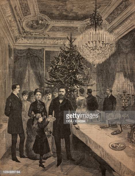 The Crown Prince Frederick III of Prussia and family in the billiardroom of Villa Zirio Christmas 1887 Sanremo Liguria Italy engraving from The...