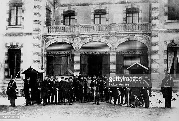 The Crown Prince Frederick Wilhelm of Prussia commander of the Third Army with his General Staff at their headquarters during the FrancoPrussian War...