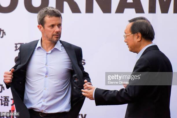The Crown Prince Frederik of Denmark and Chinese State Counsellor Yang Jiechi attend the final of the 3rd SinoNordic Cup Football Tournament between...
