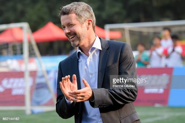 The Crown Prince Frederik of Denmark attends the final in the 3rd Sino-Nordic Cup Football Tournament on September 23, 2017 in Beijing, China.