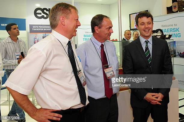 The Crown Prince Frederik of Denmark greets Henrik Hansen and Ditlev Nielsen, during his official visits to the Danish pavilion at the Rio Oil & Gas...