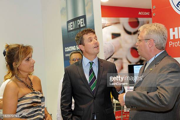 The Crown Prince Frederik of Denmark inspects the Danish companies booths during his official visits to the Danish pavilion at the Rio Oil & Gas Expo...