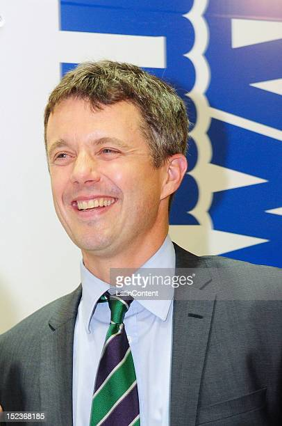 The Crown Prince Frederik of Denmark poses for a photo during his official visits to the Danish pavilion at the Rio Oil & Gas Expo and Conference on...
