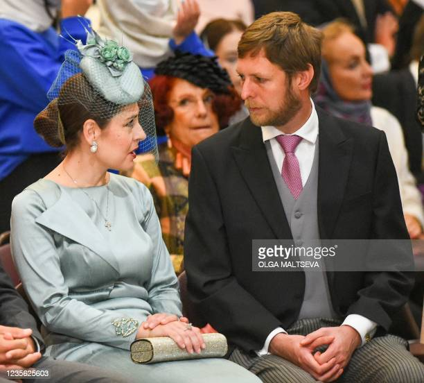 The Crown Prince Leka and Crown Princess Elia of Albania attend the wedding ceremony of Grand Duke George Mikhailovich Romanov and Victoria Romanovna...