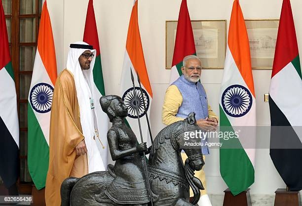 The Crown Prince of Abu Dhabi General Sheikh Mohammed Bin Zayed Al Nahyan meets with Indian Prime Minister Narendra Modi ahead of a meeting at...
