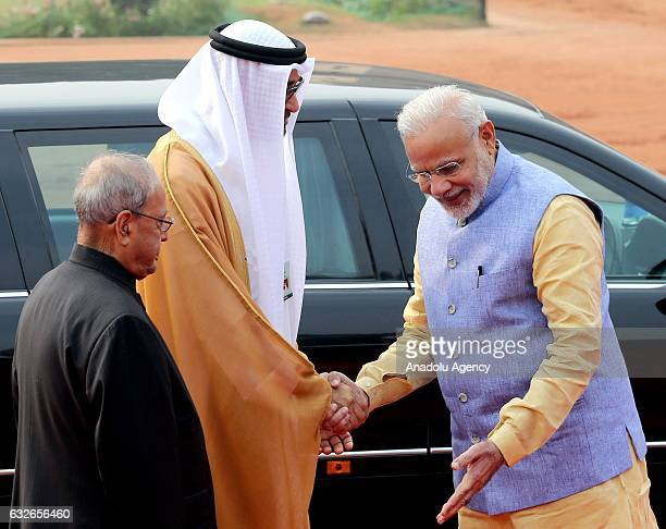 The Crown Prince of Abu Dhabi General Sheikh Mohammed Bin Zayed Al Nahyan is welcomed by Indian Prime Minister Narendra Modi with an official...