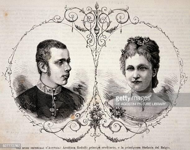 The Crown Prince of AustriaHungary Rudolf of HabsburgLorraine and his wife Stephanie of SaxeCoburgGotha Princess of Belgium May 2 engraving Austria...