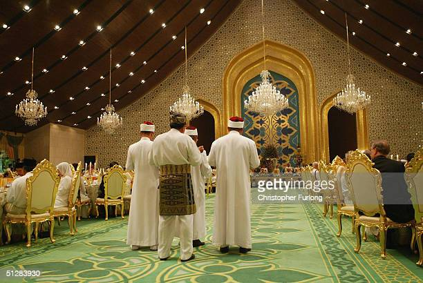 The Crown prince of Brunei and his new wife attend the Majlis Istiadat Persantapan Pengantin Diraja following the wedding of His Royal Highness Crown...