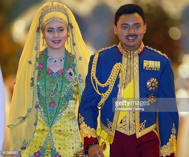 The Crown prince of Brunei and his new wife attend the Majlis Istiadat Persantapan Pengantin Diraja following the wedding of His Royal Crown Prince...