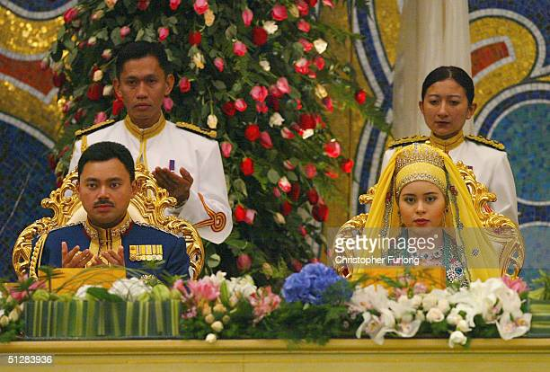The Crown prince of Brunei and his new wife attend the Majlis Istiadat Persantapan Pengantin Diraja following the wedding of His Royal Highness...