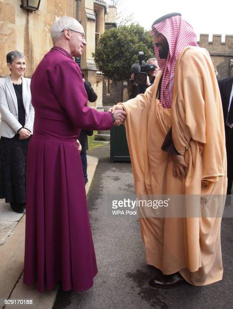 The Crown Prince of Saudi Arabia HRH Mohammed bin Salman arrives for a private meeting at Lambeth Palace hosted by the Archbishop of Canterbury...