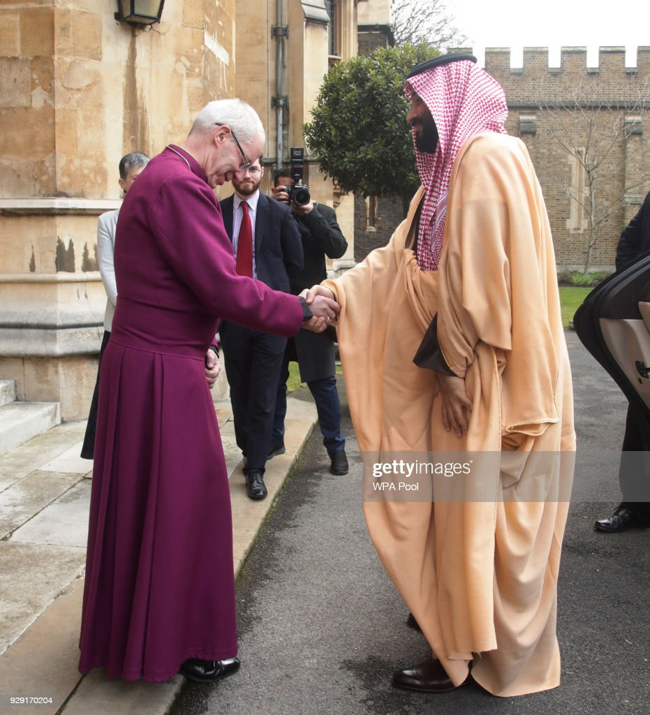 The Crown Prince of Saudi Arabia, HRH Mohammed bin Salman, arrives for a private meeting at Lambeth Palace hosted by the Archbishop of Canterbury Justin Welby on March 8, 2018 in London, United Kingdom.
